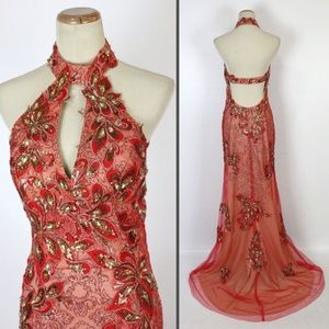 NWT Jovani Red/Gold Floral Beaded Halter Dress